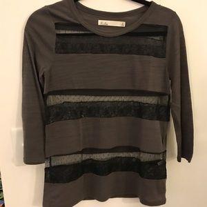 Madewell grey long sleeve tee with sheer stripes